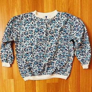 Vintage 90s turquoise floral crewneck sweatshirt